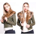 Womens Khaki Faux Leather Fur Biker Jacket PU coat Size 8 10 12 14